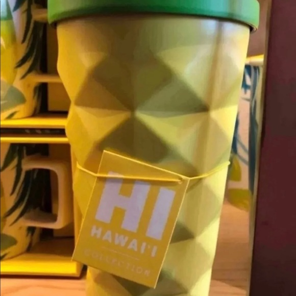 New Starbucks Hawaii 2016 Pineapple Grande 16 oz Metal Tumbler Cold CUP Mug